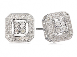 Diaura Sterling Silver Diamond-Accented Square Stud Earrings