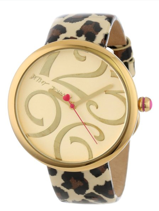 Betsey Johnson Women's BJ00068-05 Analog Leopard Patent Printed Leather Strap Watch