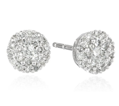 10k White Gold Round Diamond Cluster Earrings