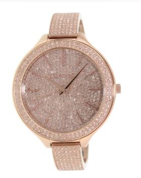 Michael Kors Runway Pink Crystal-set Dial Pink Gold-tone Ladies Watch MK3251