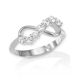 High Polish 14k White Gold Infinity Ring