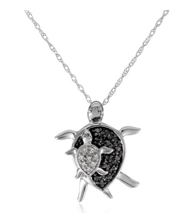 "XPY 10k White Gold and Black and White Diamond ""Mother and Baby Turtle"" Pendant Necklace"